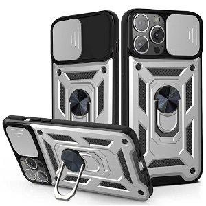 iPhone 13 Pro Max Håndværker Bagside Cover m. Magnetisk Kickstand & Cam Slider - Sølv