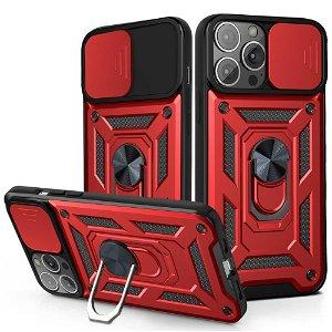 iPhone 13 Pro Håndværker Bagside Cover m. Magnetisk Kickstand & Cam Slider - Rød