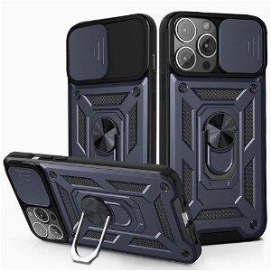 iPhone 13 Pro Håndværker Bagside Cover m. Magnetisk Kickstand & Cam Slider - Mørkeblå