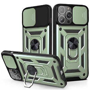 iPhone 13 Pro Håndværker Bagside Cover m. Magnetisk Kickstand & Cam Slider - Grøn