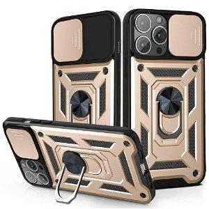 iPhone 13 Pro Håndværker Bagside Cover m. Magnetisk Kickstand & Cam Slider - Guld