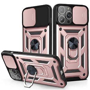 iPhone 13 Pro Håndværker Bagside Cover m. Magnetisk Kickstand & Cam Slider - Rose Gold