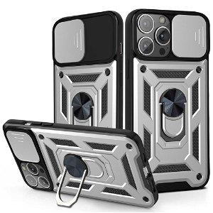 iPhone 13 Pro Håndværker Bagside Cover m. Magnetisk Kickstand & Cam Slider - Sølv