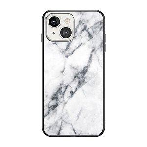 iPhone 13 Mini Fleksibelt Plastik Bagside Cover m. Glasbagside - Hvid Marmor