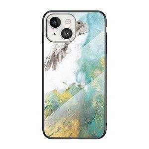 iPhone 13 Mini Fleksibelt Plastik Bagside Cover m. Glasbagside - Blå / Guld Marmor