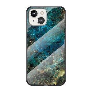iPhone 13 Mini Fleksibelt Plastik Bagside Cover m. Glasbagside - Blå / Grøn Marmor