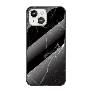 iPhone 13 Mini Fleksibelt Plastik Bagside Cover m. Glasbagside - Sort Marmor