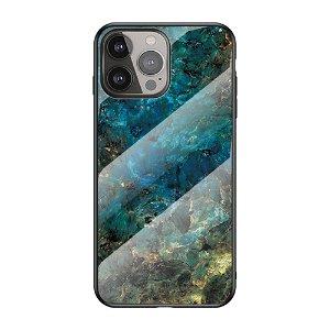 iPhone 13 Pro Fleksibelt Plastik Bagside Cover m. Glasbagside - Blå / Grøn Marmor