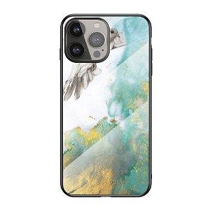 iPhone 13 Pro Max Fleksibelt Plastik Bagside Cover m. Glasbagside - Blå / Guld Marmor