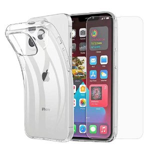 iPhone 13 Pro Max Bagside Cover + Hærdet Glas Beskyttelsesglas - Case-Friendly - Gennemsigtig