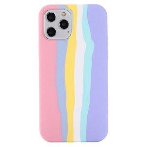 iPhone 13 Pro Max Fleksibel Silikone Bagside Cover - Regnbue - Pink