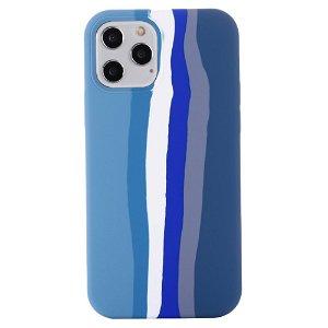 iPhone 13 Pro Max Fleksibel Silikone Bagside Cover - Regnbue - Blå
