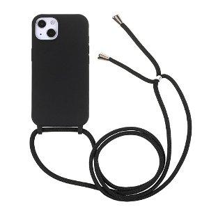 iPhone 13 Mini Fleksibelt Plastik Bagside Cover m. Snor / Strop - Sort