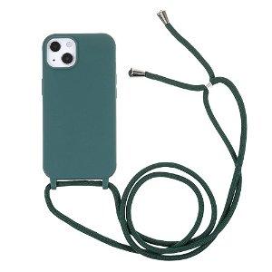 iPhone 13 Mini Fleksibelt Plastik Bagside Cover m. Snor / Strop - Grøn