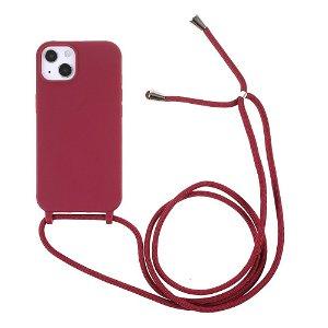 iPhone 13 Mini Fleksibelt Plastik Bagside Cover m. Snor / Strop - Rød