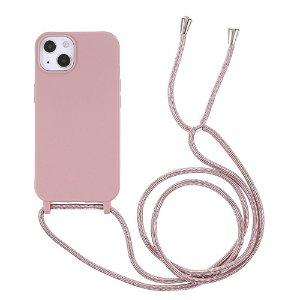 iPhone 13 Mini Fleksibelt Plastik Bagside Cover m. Snor / Strop - Pink