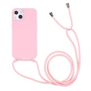 iPhone 13 Mini Fleksibelt Plastik Bagside Cover m. Snor / Strop - Lyserød