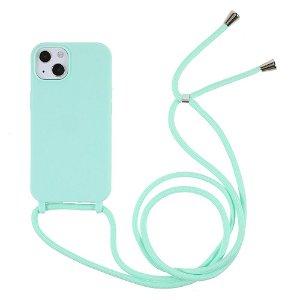 iPhone 13 Mini Fleksibelt Plastik Bagside Cover m. Snor / Strop - Turkis