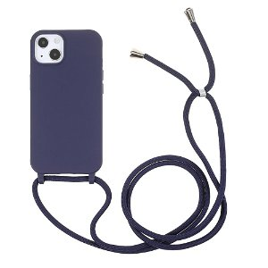 iPhone 13 Mini Fleksibelt Plastik Bagside Cover m. Snor / Strop - Mørkeblå