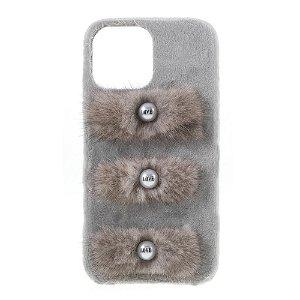 iPhone 13 Pro Plastik Bagside Cover - Plysbelagte Kærlighedsperler - Grå
