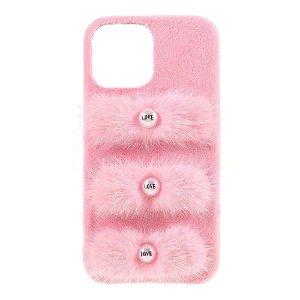 iPhone 13 Pro Max Plastik Bagside Cover - Plysbelagte Kærlighedsperler - Lyserød