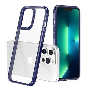iPhone 13 Pro Drop-Proof Fleksibelt Plastik Håndværker Bagside Cover - Gennemsigtig / Blå