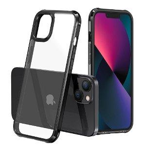 iPhone 13 Mini LEEU DESIGN Drop-Proof Fleksibelt Plastik Bagside Cover - Gennemsigtig / Sort