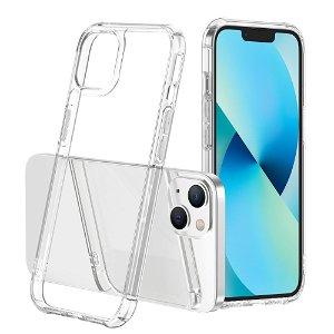 iPhone 13 Mini LEEU DESIGN Drop-Proof Fleksibelt Plastik Bagside Cover - Gennemsigtig