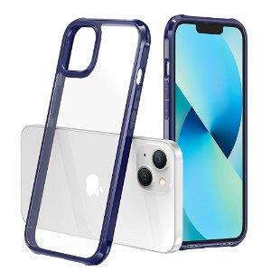 iPhone 13 Mini LEEU DESIGN Drop-Proof Fleksibelt Plastik Bagside Cover - Gennemsigtig / Blå