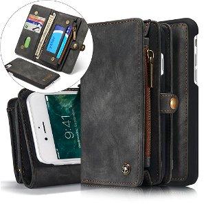 iPhone SE (2020)/8/7 CASEME 2-in-1 Vintage Leather Wallet Cover m. Pung Sort
