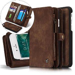 iPhone SE (2020)/8/7 CASEME 2-in-1 Vintage Leather Wallet Cover m. Pung Brun