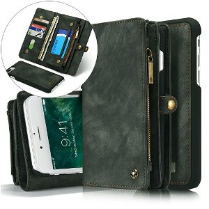iPhone 8 Plus / 7 Plus CASEME 2-in-1 Vintage Leather Wallet Etui m. Pung Sort