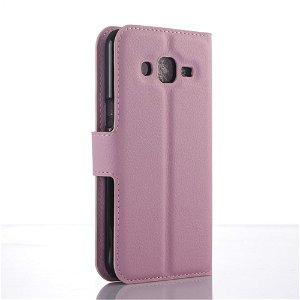 Samsung Galaxy J3 (2016) Læder Cover m. Kortholder & Stand - Pink