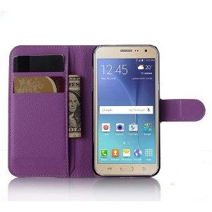 Samsung Galaxy J3 (2016) Læder Cover m. Kortholder & Stand - Lilla