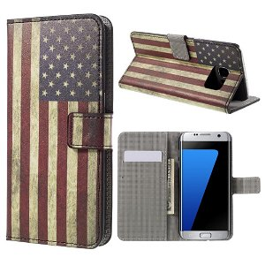 Samsung Galaxy S7 Edge PU læder FlipCover m. Kortholder - US Flag