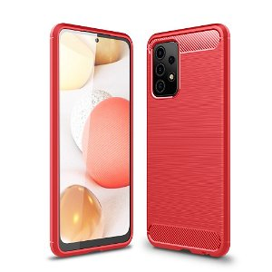 Samsung Galaxy A52s (5G) / A52 (4G / 5G) Carbon Fiber Fleksibelt Plastik Cover - Rød