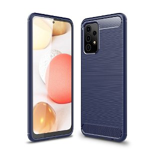 Samsung Galaxy A52s (5G) / A52 (4G / 5G) Brushed Carbon Fiber Plastik Cover - Blå