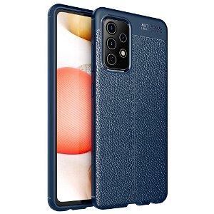 Samsung Galaxy A52s (5G) / A52 (4G / 5G) Fleksibelt Plastik Cover  - Blå - Litchi Tekstur