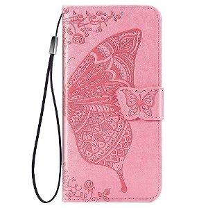 Samsung Galaxy A52s (5G) / A52 (4G / 5G) Læder Flip Cover - Sommerfugle Imprint - Pink