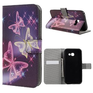 Samsung Galaxy A3 (2017) PU læder FlipCover m. Kortholder - Colorful Butterflies
