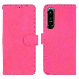 Sony Xperia 5 III Læder Flip Cover m. Pung - Pink