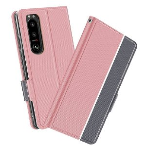 Sony Xperia 5 III Tyndt Kunstlæder Flip Cover m. Kortholder - Pink/Grå