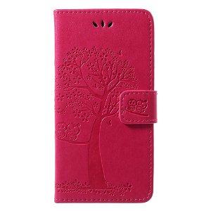 Huawei P20 Lite Læder Cover m. Pung Ugle og Træ Imprint - Pink