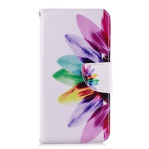 Huawei P20 Lite PU læder Flip Cover m. Pung - Farverig Blomst