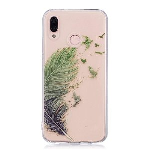 Huawei P20 Lite (2018) TPU Plast Cover Fjer & Fugle Gennemsigtig