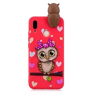 Huawei P20 Lite (2018) Cover 3D Lovely Owl - Rød