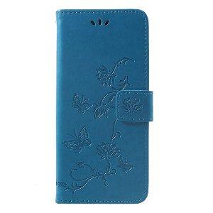 Huawei Mate 20 Pro Læder Cover m. Pung og Sommerfugle Imprint - Blå