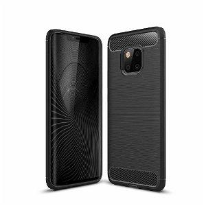 Huawei Mate 20 Pro Brushed Carbon Fiber TPU Plast Cover Sort
