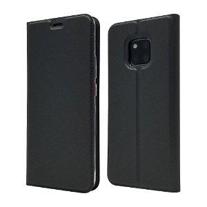Huawei Mate 20 Pro Slim Leather Case m. Kortholder - Sort