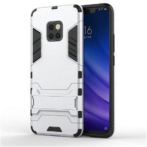 Huawei Mate 20 Pro TPU + Plast Hybrid Håndværker Cover m. Kickstand - Sølv